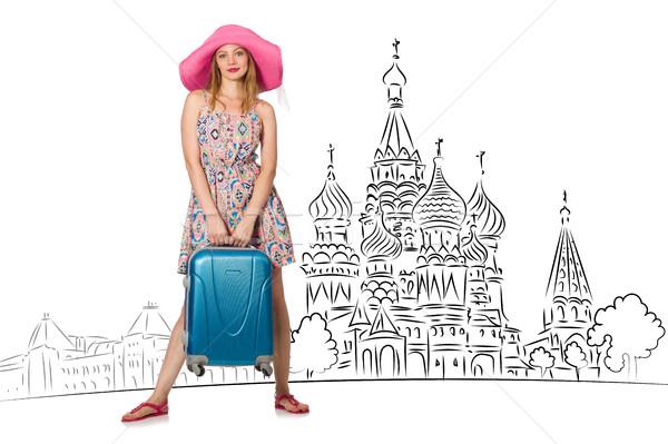Fiatal lány turizmus Oroszország lány boldog divat Stock fotó © Elnur