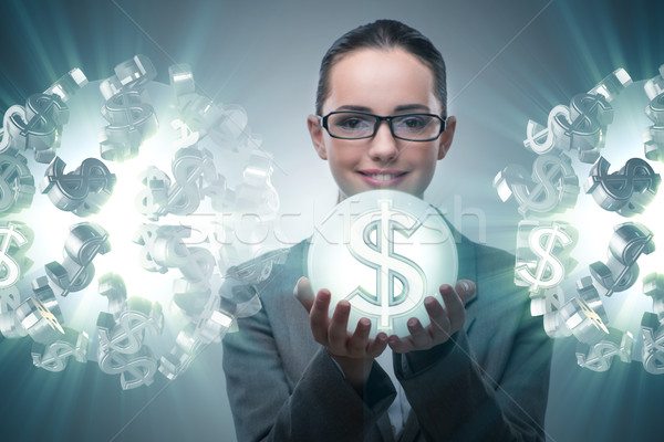 Zakenvrouw amerikaanse dollar geld werk scherm Stockfoto © Elnur