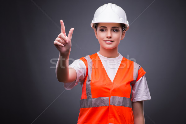 Cute trabajador de la construcción virtual botones mujer Foto stock © Elnur