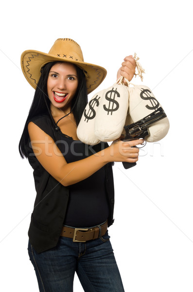 Young woman with gun and money sacks Stock photo © Elnur