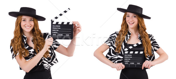 The young woman with movie clapboard isolated on white Stock photo © Elnur