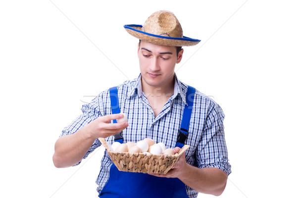 человека соломенной шляпе яйца Пасху дома продовольствие Сток-фото © Elnur