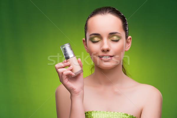 Fiatal nő szépség zöld háttér masszázs bőr Stock fotó © Elnur