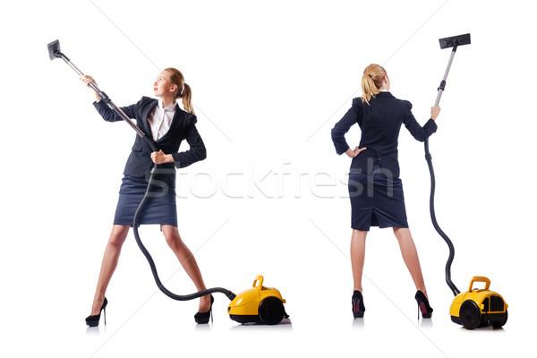 Empresária limpeza aspirador de pó branco casa trabalhar Foto stock © Elnur
