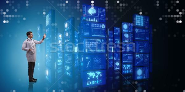 Photo stock: Médecin · boutons · ordinateur · résumé · technologie