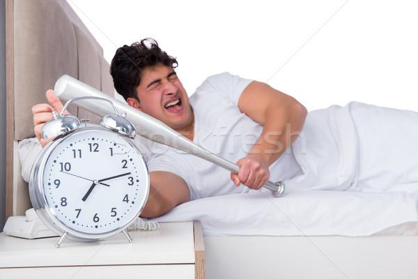 человека кровать страдание бессонница часы здоровья Сток-фото © Elnur
