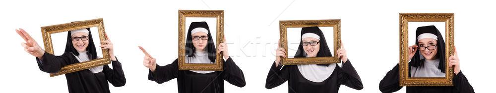 Młodych zakonnica ramki odizolowany biały lustra Zdjęcia stock © Elnur