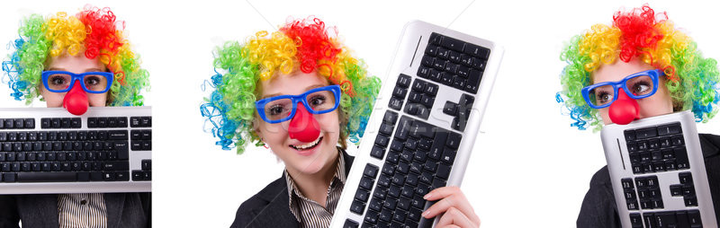 Businessman with clown wig isolated on white Stock photo © Elnur