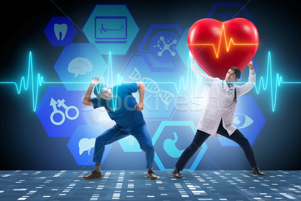 Man doctor in cardiology telemedicine concept Stock photo © Elnur