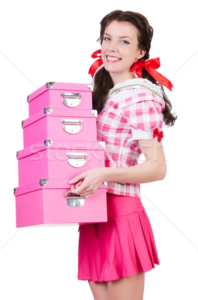 Jonge vrouw opslag dozen witte vrouw meisje Stockfoto © Elnur