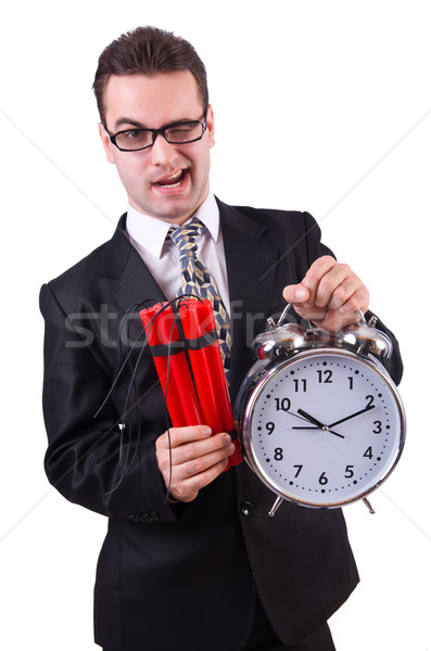 Man with time bomb isolated on white Stock photo © Elnur