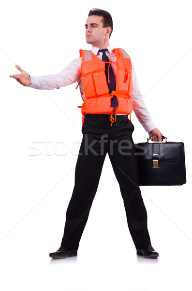 Businessman with rescue safety vest on white Stock photo © Elnur
