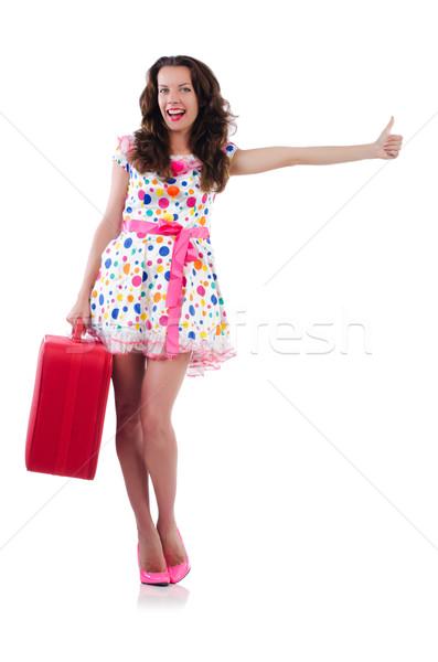 Mujer rojo caso aislado blanco negocios Foto stock © Elnur