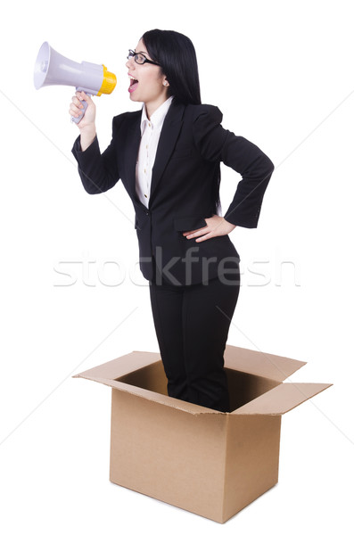 Businesswoman with loudspeaker from the box Stock photo © Elnur