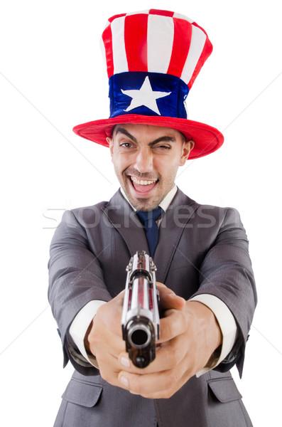 Férfi fegyver amerikai kalap biztonság üzletember Stock fotó © Elnur