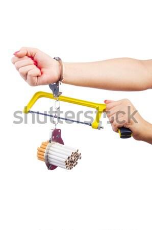 зависимость сигареты наручники аннотация знак блокировка Сток-фото © Elnur