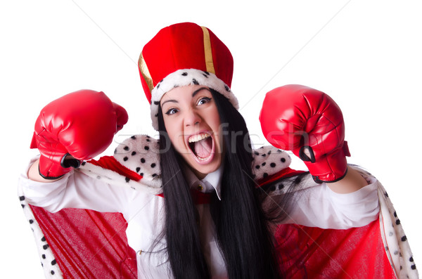 Woman queen with boxing gloves Stock photo © Elnur