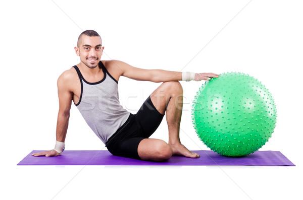 Człowiek piłka biały człowiek dziewczyna model zdrowia Zdjęcia stock © Elnur
