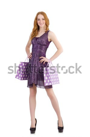 Stock photo: Woman after shopping isolated on the white