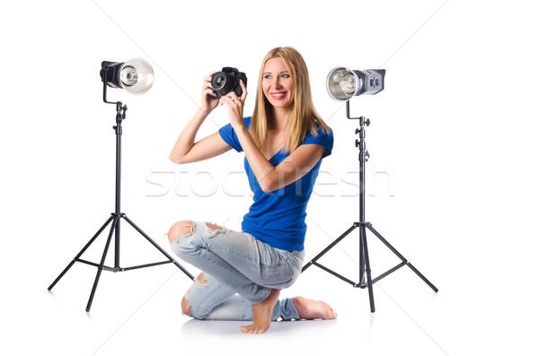 Kadın kamera yalıtılmış beyaz kız yüz Stok fotoğraf © Elnur
