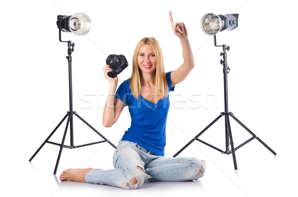 Woman with camera isolated on the white Stock photo © Elnur