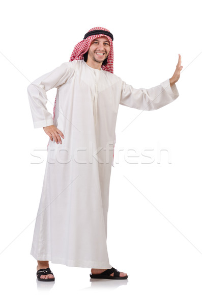 Arab man pushing away  virtual obstacle  isolated on white Stock photo © Elnur