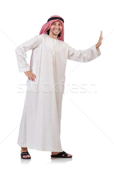 Arab férfi toló messze virtuális akadály Stock fotó © Elnur