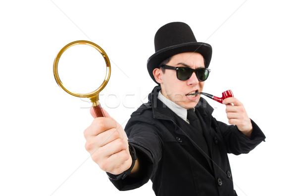 молодые детектив трубы увеличительное стекло глаза лице Сток-фото © Elnur