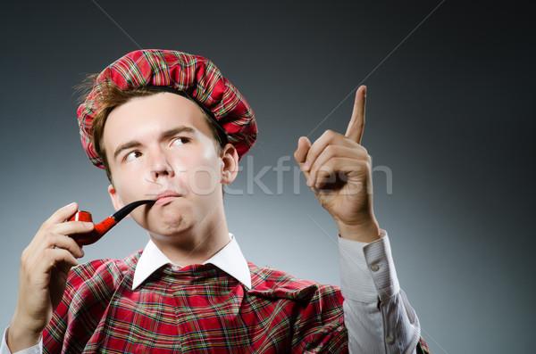 Drôle fumer pipe tabac danse blanche Photo stock © Elnur