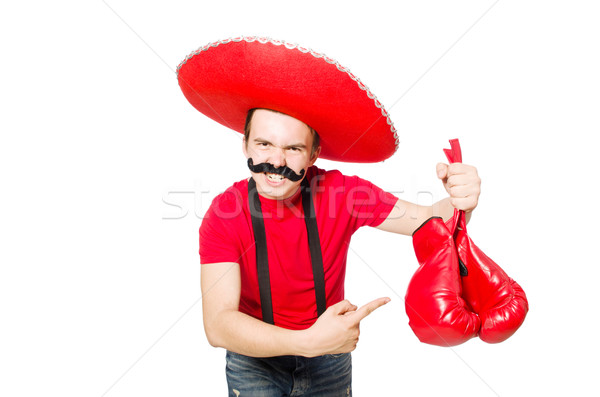 Funny mexican with boxer gloves isolated on the white Stock photo © Elnur