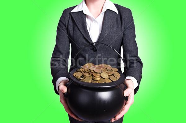 Stok fotoğraf: Kadın · pot · altın · madeni · iş · alışveriş