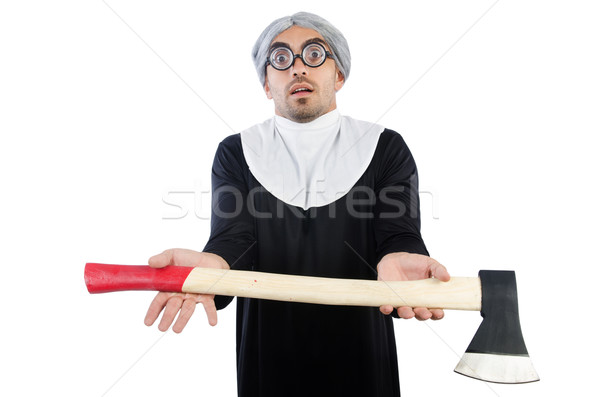 Stock photo: Young man wearing as nun isolated on white