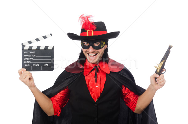 Young man in carnival coat with gun and clapper isolated on whit Stock photo © Elnur