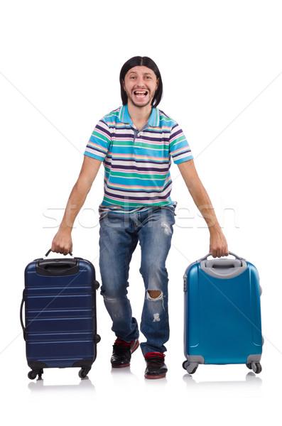 ストックフォト: 若い男 · 旅行 · スーツケース · 孤立した · 白 · 幸せ