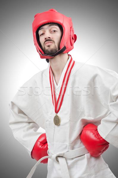 Karate combattente isolato bianco sport fitness Foto d'archivio © Elnur