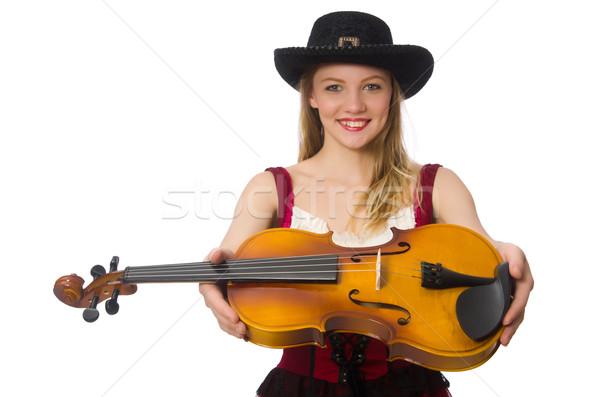 Stock fotó: Fiatal · hegedű · játékos · izolált · fehér · művészet