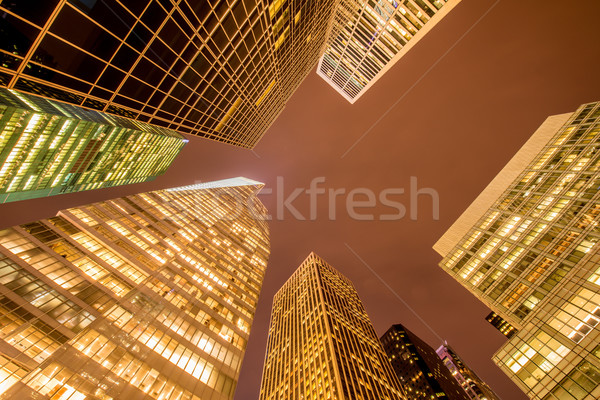 Famous skyscrapers of New York at night Stock photo © Elnur