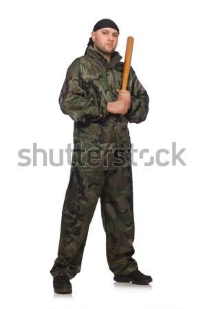Jonge man pistool geïsoleerd witte Stockfoto © Elnur