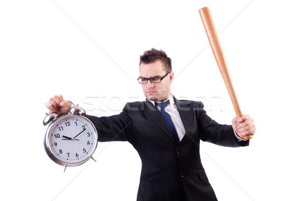 Homem relógio taco de beisebol isolado homem branco branco Foto stock © Elnur