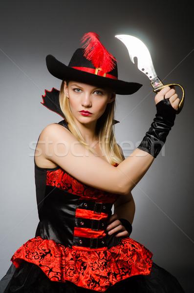Vrouw piraat scherp mes hand zwarte Stockfoto © Elnur