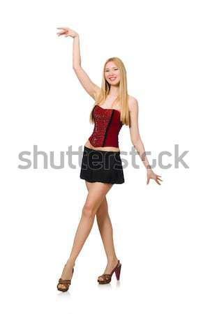 Pretty girl in black mini dress isolated on white Stock photo © Elnur