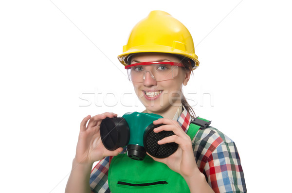 Female worker wearing coverall and gas mask isolated on white Stock photo © Elnur