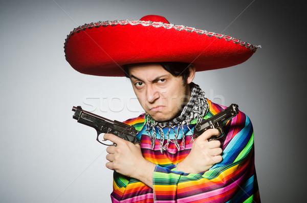 человека яркий мексиканских пистолет серый Сток-фото © Elnur