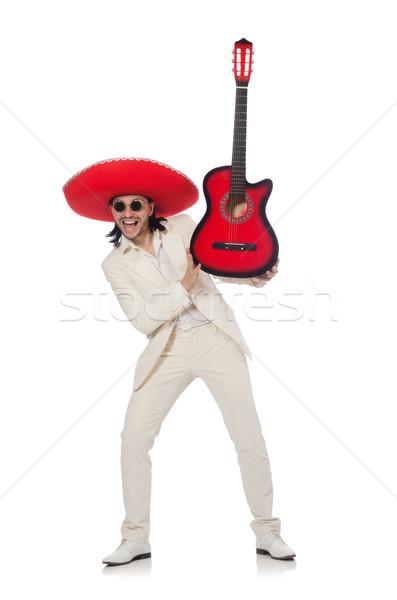 Mexicano guitarrista isolado branco festa fundo Foto stock © Elnur