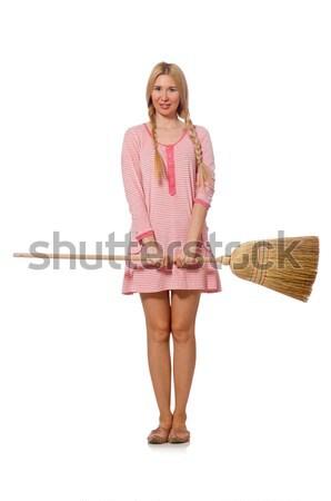 Pretty woman skóry spódnica odizolowany biały kobieta Zdjęcia stock © Elnur