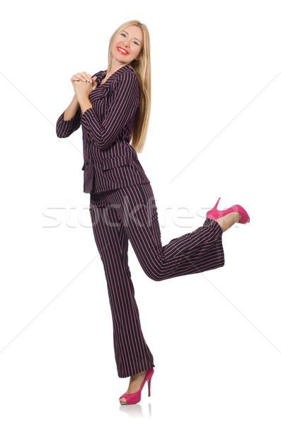 Pretty girl in purple retro suit isolated on white Stock photo © Elnur