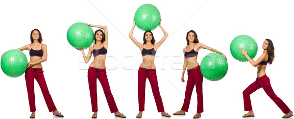 Set of photos with model and swiss ball Stock photo © Elnur