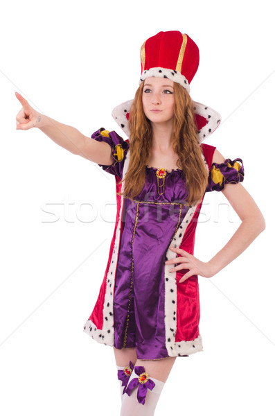 Pretty young queen in purple dress isolated on white Stock photo © Elnur