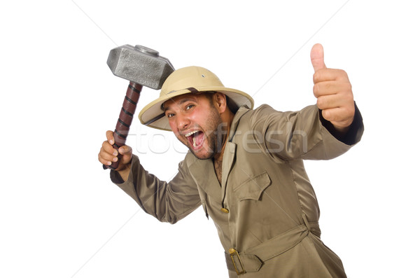 Man with hammer isolated on white Stock photo © Elnur
