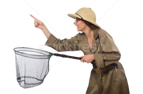女性 着用 サファリ 帽子 白 背景 ストックフォト © Elnur